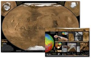 National Geographic - Mars Map , The Red Planet Map , Two-Sided Laminated Poster by National Geographic Maps