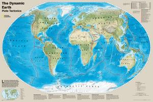 National Geographic - The Dynamic Earth, Plate Tectonics Map Laminated Poster by National Geographic Maps