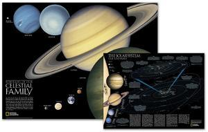 National Geographic - The Solar System Map, Two-Sided Map Laminated Poster by National Geographic Maps