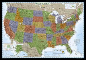 National Geographic - United States Decorator Map, Enlarged & Laminated Poster by National Geographic Maps