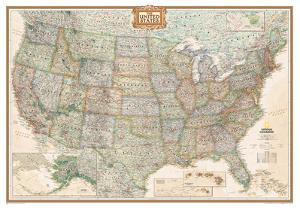 National Geographic - United States Executive Map, Enlarged & Laminated Poster by National Geographic Maps