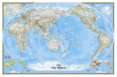 National Geographic - World Classic, Pacific Centered Map, Enlarged & Laminated Poster by National Geographic Maps