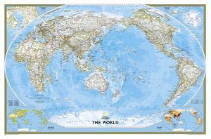 National Geographic - World Classic, Pacific Centered Map Laminated Poster by National Geographic Maps