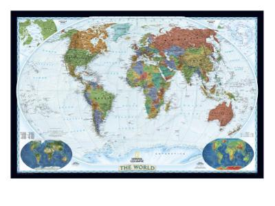 National Geographic - World Decorator Map, Enlarged & Laminated Poster by National Geographic Maps