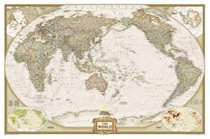 National Geographic - World Executive, Pacific Centered Map, Enlarged & Laminated Poster by National Geographic Maps