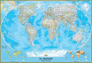 Spanish Classic World Map by National Geographic Maps