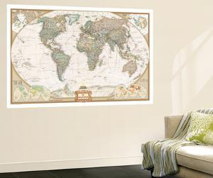 Map wall murals posters for sale at allposters spanish executive world map by national geographic maps gumiabroncs Images