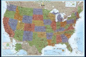 United States Political Map, Decorator Style by National Geographic Maps