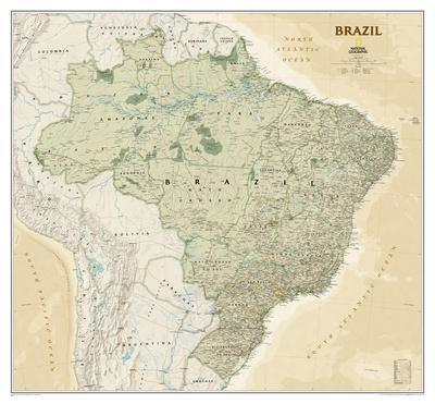 National Geographic - Brazil Executive Map Laminated Poster by National Geographic