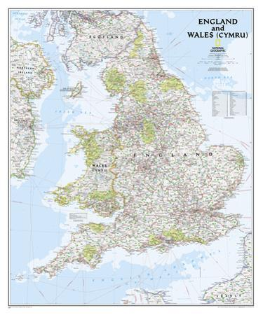 National Geographic - England & Wales Map Poster