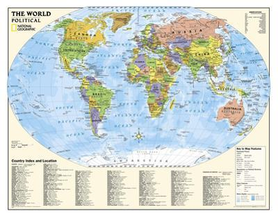 National Geographic - Laminated Kids Political World Education Map (Grades 4-12) Giant Poster by National Geographic