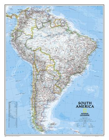 National Geographic - South America Classic Map, Enlarged & Laminated Poster by National Geographic