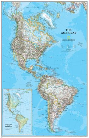 National Geographic - The Americas Classic Map Laminated Poster by National Geographic
