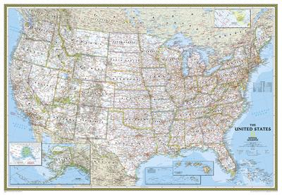 National Geographic - United States Classic Map, Enlarged & Laminated Poster