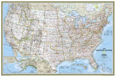 National Geographic - United States Classic, poster size Map Laminated Poster