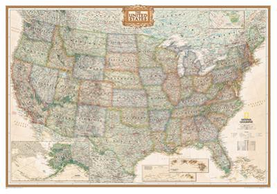 National Geographic - United States Executive Map, Enlarged & Laminated Poster