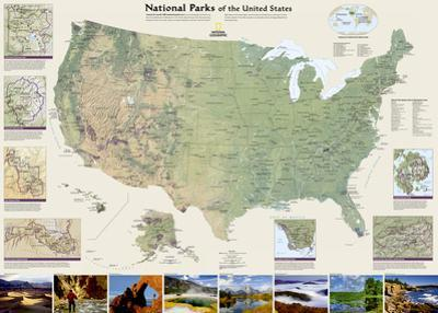 National Geographic - United States National Parks Map Laminated Poster