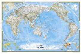 Affordable national geographic maps posters for sale at allposters national geographic world classic pacific centered map enlarged laminated poster by national gumiabroncs Images