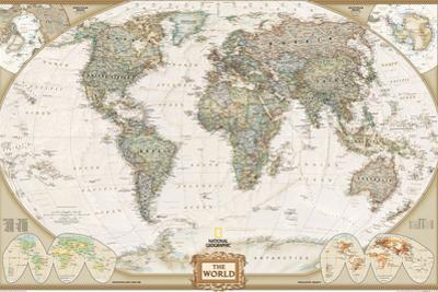 National Geographic - World Executive Map, Enlarged & Laminated Poster by National Geographic