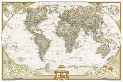 National Geographic - World Executive, Poster Size Map Laminated Poster