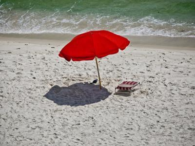 A Red Umbrella on the Beach at Gulf Shores, Alabama