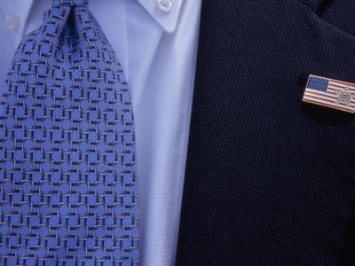 Tie and Lapel Pin on a Secret Service Agent Guarding President Bush