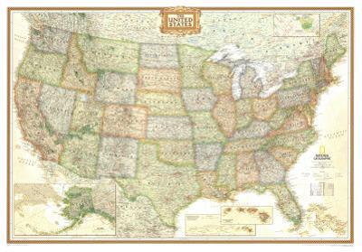 National Geographic United States Political Map, Executive Style Giant Poster