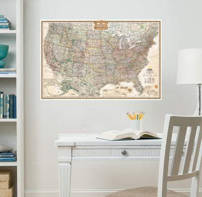 Superb National Geographic USA Map Executive Wall Decal Sticker Part 29