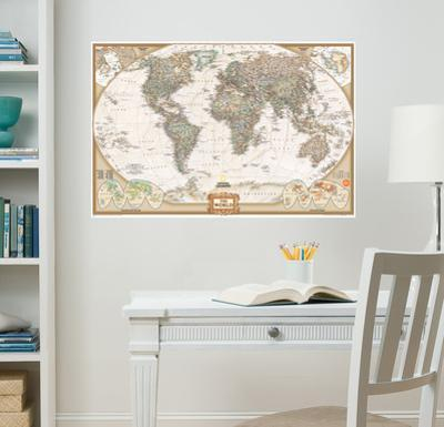 National Geographic World Map Executive Wall Decal Sticker