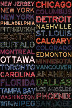 National Hockey League Cities Colorful