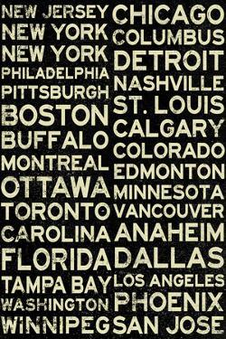 National Hockey League Cities Vintage Style Plastic Sign