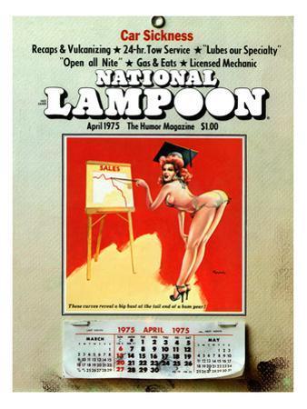 National Lampoon, April 1975 - Car Sickness, the Pin-Up Calendar
