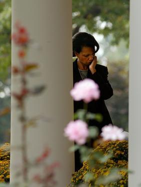 National Security Adviser Condoleezza Rice Listens to President Bush Speak About Cuba