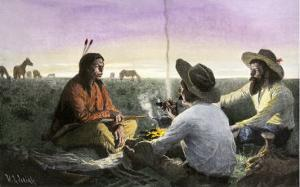 Native American Joining Cowboys at their Campfire, Late 1800s