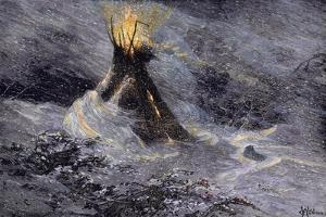 Native American Tepee in a Snowstorm, Emitting Embers from Center Smoke-Hole