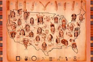 Native American Tribes Map Art Print Poster