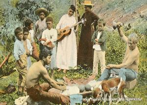 Native Hawaiians Pounding Poi, Honolulu - T.H. Territory of Hawaii