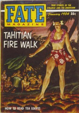 Native Woman of Tahiti Performing a Firewalk in Scanty Attire