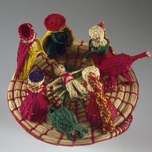 Nativity, Nativity Scene Made of Colored Straw, Ecuador
