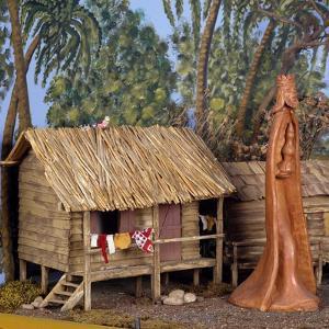 Nativity Scene with Terracotta Figurine, 1968, Brazil