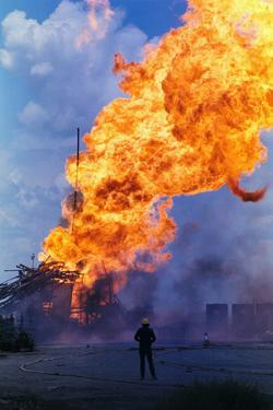 Natural Gas Well Burning after Explosion