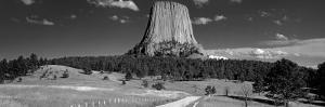 Natural Rock Formation in Black and White, Devils Tower National Monument, Wyoming, USA