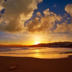 Cullera Playa Los Olivos Beach Sunset in Mediterranean Valencia at Spain by Naturewolrd