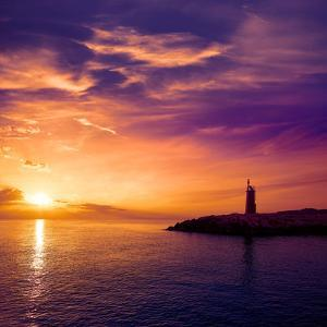 Denia Sunset Lighthouse at Dusk in Alicante at Spain by Natureworld