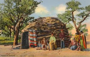 Navajos with Hogan