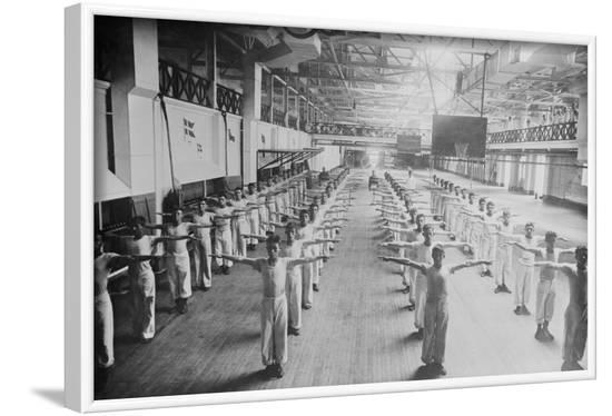 Naval Cadets Exercise in Large Hangar in their Calisthenics--Framed Art Print