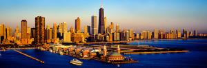 Navy Pier in the lake at sunrise, Lake Michigan, Chicago, Cook County, Illinois, USA