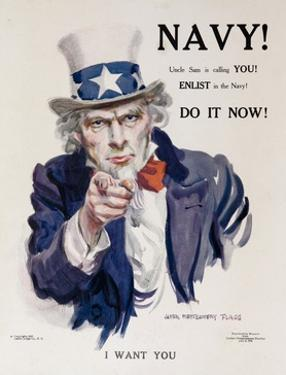 Navy! Uncle Sam Is Calling You! American Wwi Recruiting Poster
