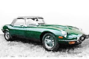 1961 Jaguar E-Type Watercolor by NaxArt