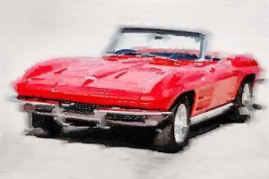 1964 Corvette Stingray Watercolor by NaxArt